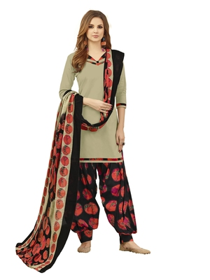 Grey plain cotton salwar with dupatta