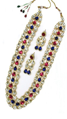3 line pink and blue kundan necklace set