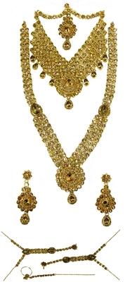 Golden stone drop bridal necklace set