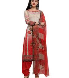 Buy Red printed crepe salwar with dupatta dress-material online