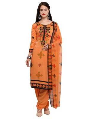Orange printed crepe salwar with dupatta