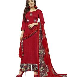 Buy Red embroidered cotton salwar with dupatta dress-material online