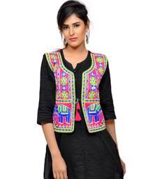 Pink Kutchi Embroidered Dupion Silk Waist Length Jacket Women Ethnic Wear