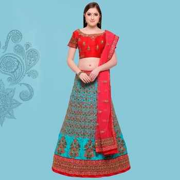 Turquoise Embroidered Art Silk Semi Stitched Lehenga With Dupatta