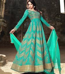 Buy Turquoise Embroidered Silk Semi Stitched Salwar With Dupatta semi-stitched-salwar-suit online