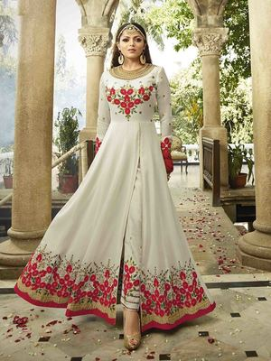 Off White Embroidered Faux Georgette Semi Stitched Salwar With Dupatta