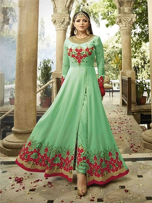 Light Green Embroidered Faux Georgette Semi Stitched Salwar With Dupatta