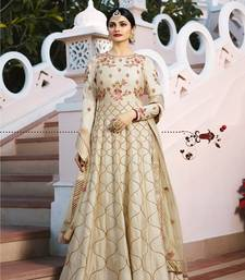 Beige Embroidered Silk Semi Stitched Anarkali Suit