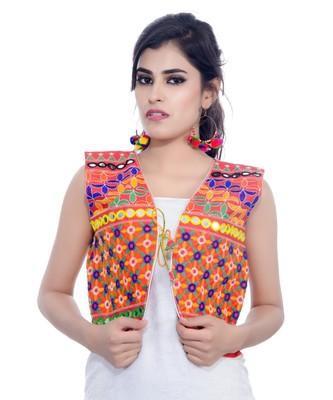 Red Kutchi Embroidered Cotton Blend Short Jacket Women Ethnic Wear