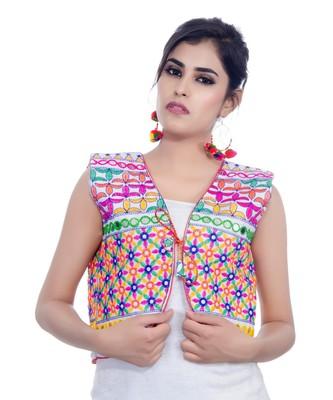White Kutchi Embroidered Cotton Blend Short Jacket Women Ethnic Wear