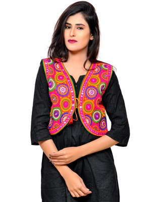 Red Kutchi Embroidered Cotton Blend Short Jacket Women Ethnic Wear