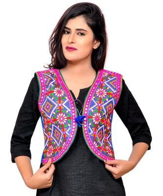 Blue Kutchi Embroidered Cotton Blend Short Jacket Women Ethnic Wear