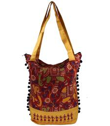 Buy Yellow Cotton hand woven sling bags sling-bag online