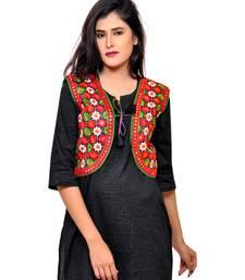 Black Kutchi Embroidered Cotton Blend Short Jacket Women Ethnic Wear