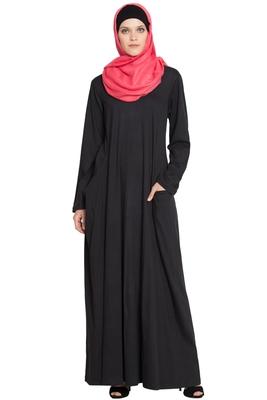 Black Cotton Plain Islamic Abaya