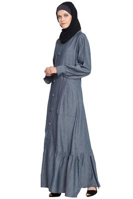 Grey cotton plain islamic abaya