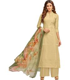 Buy Beige & Multi Cambric Cotton Printed & Embroidered Women's Palazzo Suit women-ethnic-wear online