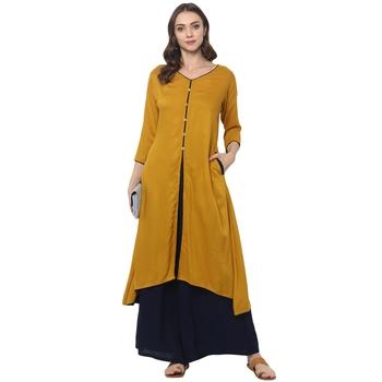 Mustard rayon rayon stitched kurti