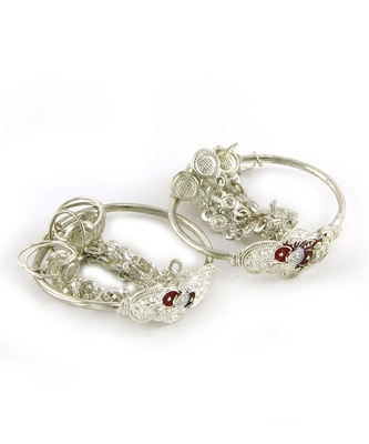 Traditional Silver Plated Cuff Bracelet And Kadas For Baby Boys & Girls