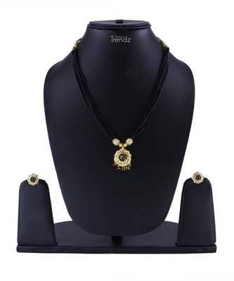 Handmade Jewellery Combo Pack of Two Traditional, Ethnic and Antique Gold Plated Mangalsutra and Earring Set
