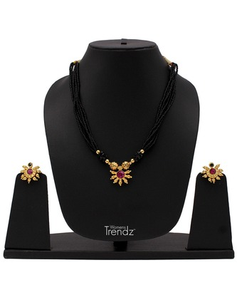 Traditional Handmade Jewellery White Crystal 24K Gold Plated Mangalsutra And Earring Set For Womens