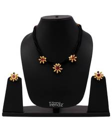 Traditional Handmade Five Red Crystal Pendal 24K Gold Plated Mangalsutra And Earring Set For Womens