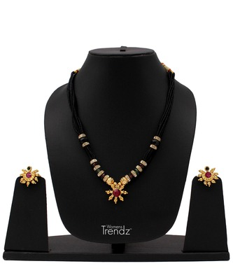 Traditional Handmade Fancy Moti Mangalsutra And Earring Set Necklace With for Womens