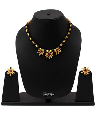 Handmade Traditional 24K Gold Plated Jewellery Designer Laxmi Pendal Mangalsutra And Earring Set for Womens
