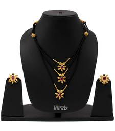 Buy Handmade Traditional  24K Gold Plated Necklace Mangalsutra And Earring Set With Women jewellery-combo online