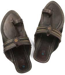 Buy handmade authentic genuine leather attractive pointed dark brown men kolhapuri chappal footwear online