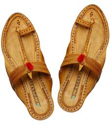 Buy handmade authentic genuine leather Light yellow typical kolhapuri chappal with red gonda for women footwear online