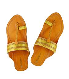 Buy Authentic leather Yellow Paithani Border embellished awesome looking kolhapuri chappal for women footwear online