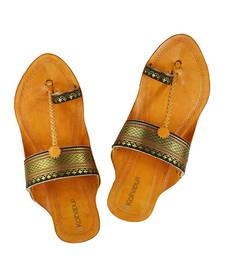 Buy Authentic leather Black Paithani Border embellished awesome looking kolhapuri chappal for women footwear online