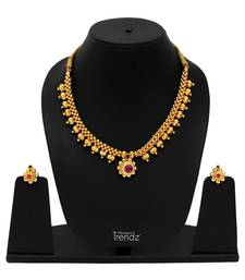 Handmade Traditional, Ethnic and Antique Gold Plated Jewellery Necklace and Earrings Set necklace-set