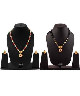 Handmade Jewellery Combo Pack of Two Traditional, Ethnic and Antique Gold Plated Necklace and earrings Set