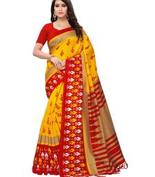 Buy Yellow printed silk blend saree with blouse women-ethnic-wear online
