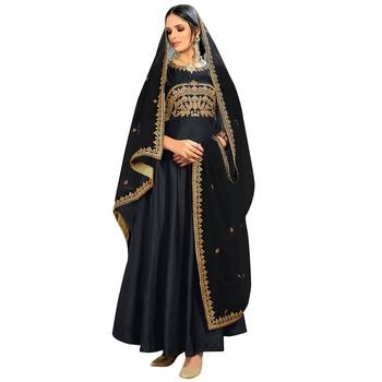 383c7f6fc5 Black embroidered bhagalpuri silk Anarkali Suit - Styles Closet ...