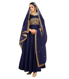 Buy Blue embroidered bhagalpuri silk salwar with dupatta bangalore-silk-salwar-kameez online