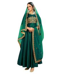 Buy Green embroidered bhagalpuri silk salwar with dupatta bangalore-silk-salwar-kameez online