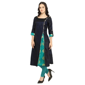 Navy Blue Colour Satin Taffeta Side Slit Anarkali A-Line Long Kurti