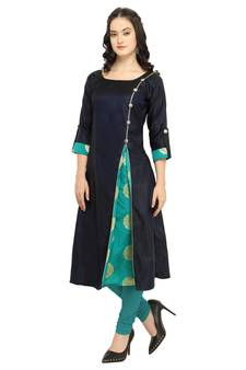 8c76fc3037 Navy Blue Colour Satin Taffeta Side Slit Anarkali A-Line Long Kurti · Shop  Now