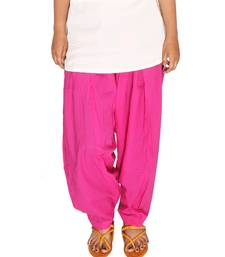 Magenta Pure Solid Cotton Semi Patiala Salwar Bottoms