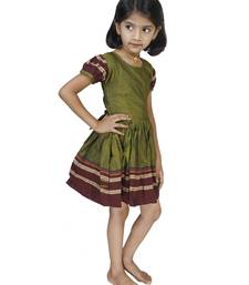 Buy Traditional Wear Mehandi Green Frock For Girls kids-frock online