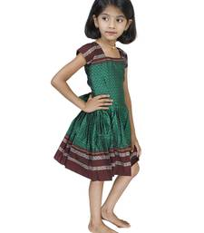 Traditional Wear Bottle Green Frock For Girls And Kids