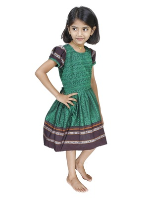 Ethnic Wear Bottle Green Frock For Girls And Kids