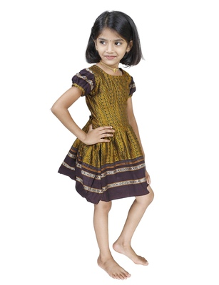 Ethnic Wear Mustard Frock For Girls And Kids