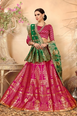 55a9be782f Rani pink embroidered silk lehenga with dupatta - Lilots - 2693172