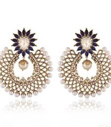 Buy Blue & White Stone Gold plated earring with White pearls danglers-drop online