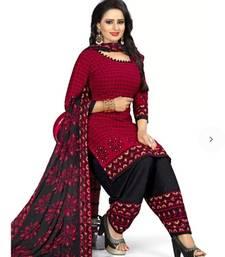 Buy Red printed faux crepe salwar crepe-salwar-suit online