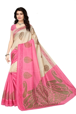 Beige printed cotton silk saree with blouse